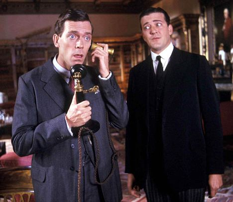 "Lauria as Bertie Wooster and Stephen Fry as Jeeves in ITV's ""Jeeves and Wooster"""