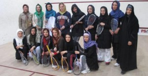Iranian Squash Girls Enghelab 2009 Carla Khan 300x154 Squash in Iran: Hijab Stories