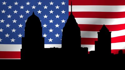 philadelphia skyline with rippling american flag animation Brotherly Love (from The Club from Hell)